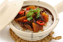 Clay pot beef rice, chinese cuisine stock photos