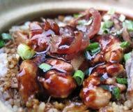 Clay pot chicken rice Stock Photo