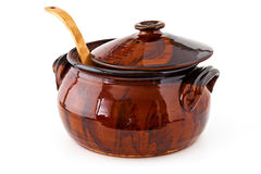 Clay pot for cooking Stock Image