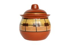 Clay pot with cover isolated Royalty Free Stock Image