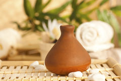 Clay pot diffuser with essentail oils Stock Photos