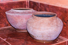 Clay pot on drinking water is the Thai way of life, lanna style Stock Photo