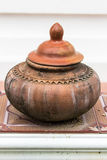 Clay pot on drinking water is the Thai way of life , lanna style Royalty Free Stock Images