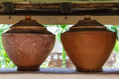 Clay pot on drinking water is the Thai way of life , lanna style Royalty Free Stock Photography