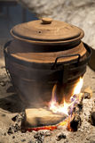 Clay pot on fire Royalty Free Stock Photography
