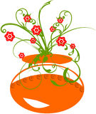 Clay pot with floral. And flowers Stock Photos