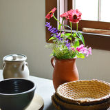 Clay Pot with Flowers Stock Photos