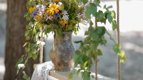 Clay pot with fresh flowers stock video