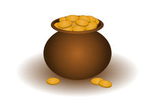 Clay pot with gold. Riches symbol: the clay pot filled with gold coins Royalty Free Stock Photos