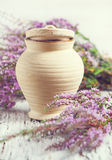 Clay pot and heather Stock Image