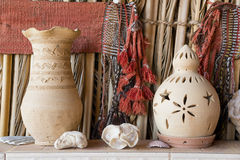Clay pot and lantern Royalty Free Stock Images