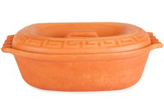 Clay pot with lid. On white background stock photos