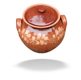 Clay pot with lid isolated over white Stock Images