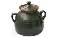Clay pot with lid Stock Photo