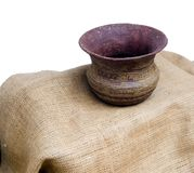 Clay pot on matting. On the white background of wall Stock Photography