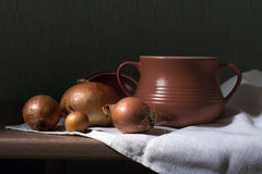 Clay pot and onions Stock Image