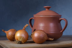Clay pot and onions Stock Photos