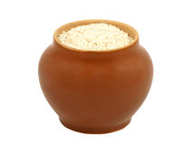 Clay pot with rice. Stock Photo