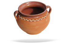 Clay pot with shadow isolated over white Royalty Free Stock Photo