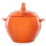 Clay pot in the shape of a pumpkin with lid Stock Image