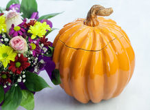 Clay Pot in the shape of a Pumpkin Royalty Free Stock Images
