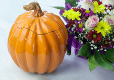 Clay Pot in the shape of a Pumpkin Royalty Free Stock Image