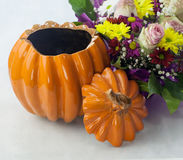 Clay Pot in the shape of a Pumpkin Royalty Free Stock Photography