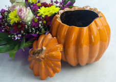 Clay Pot in the shape of a Pumpkin Stock Images