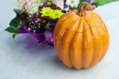 Clay Pot in the shape of a Pumpkin Stock Photo