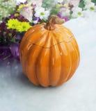 Clay Pot in the shape of a Pumpkin Stock Photos