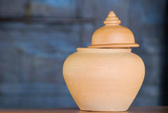 Clay pot. Thai traditional clay pot, the containering various things : water ,rice,sugar,etc royalty free stock photo
