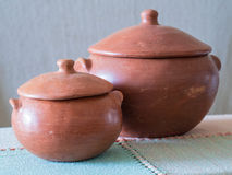 Clay pot. Two rustic clay pot at Brazil royalty free stock image