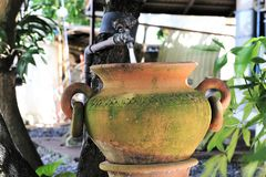 Clay pot use as zink in the gargen Stock Photography