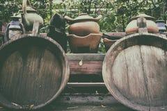 Clay Pot viejo artículos de cocina tradicional de la loza de Tailandia fotografía de archivo libre de regalías