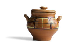 Clay pot  on white background Stock Images