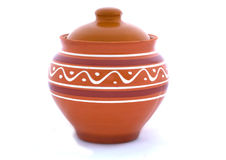 Clay pot on a white background.  Stock Photos