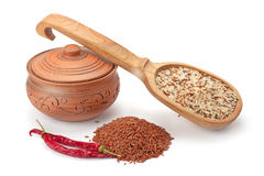 Clay pot, wooden spoon with wild rice and spices Royalty Free Stock Photo