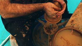 Clay Pot Workshop and ceramics stock footage