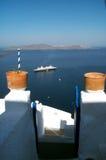 Clay pots. Entrance in a restaurant in Santorini, Greece Stock Image