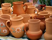 Clay pots. With floral patterns royalty free stock images