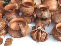 Clay pots. Exposed in a market Stock Photo