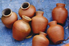 Clay pots. A variety of Indian decorated clay pots taken on the side of the road Stock Photo