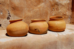 Clay Pots. At Mission Ruins in Arizona Stock Photos