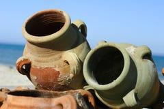 Clay pots. On the beach Royalty Free Stock Photos