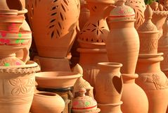 Clay pots. Displyed in Sharjah Market Stock Photos