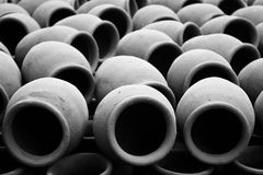 Clay pots abstract monochrome pattern stock images