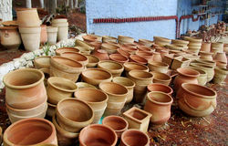 Clay pots in arabic market. Clay pot, decotation pot standing on green grass outside. decorative clay pot with handle. Clay pots in arabic market Stock Image
