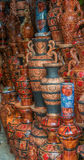 Clay pots with arts Royalty Free Stock Photos
