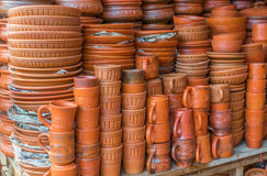 Clay pots with arts Royalty Free Stock Images