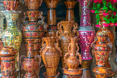 Clay pots with arts Royalty Free Stock Image